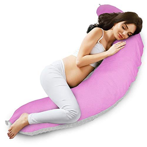 Almohada Embarazo cojin lactancia embarazada - almohadas Premama, Cojín maternal para Embarazadas dormir, cojines grande Reductor Cuna bebe Gris azul (Manchado rosa y blanco - algodón con visón gris)