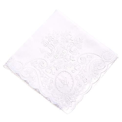イニシャルハンカチ 刺繍 日本製生地 花嫁 ウェディング ブライダル 結婚式 内祝 プレゼント 結婚祝 ギフト レディース (ホワイト, S)