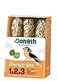 Donath Energie-Box 1,2,3 - 3 Nusstangen (3 x 120g) - traditionell in feinstes Rinderfett getaucht - Ganzjahres Wildvogelfutter mit kraftspendendem Fett - aus unserer Manufaktur in Süddeutschland