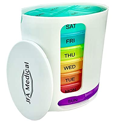 JFA Medical Weekly Oval Pill Box Organiser/Reminder for Medicines Supplements, Vitamins, 7days, 4 compartments per Day – Morning, Noon, Evening and Bed