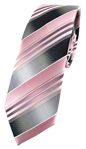 TigerTie - schmale Designer Krawatte in rosa hellrosa silber anthrazit grau gestreift
