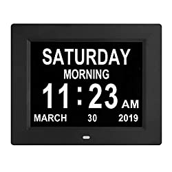 [Newest Version] Digital Calendar Day Clock with 8 Alarm Options, Extra Large Non-Abbreviated Day&Month for Seniors, Elderly, Memory Loss, Alzheimer (8-inch)