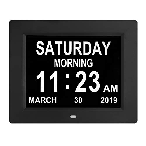 [Newest Version] Digital Calendar Day Clock with 8 Alarm Options, Extra Large Non-Abbreviated Day&Month for Seniors, Elderly, Memory Loss, Alzheimer...