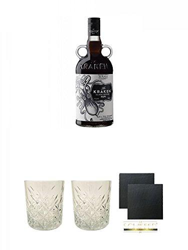 Kraken Black Spiced Rum 0,7 Liter + Rum Glas 1 Stück + Rum Glas 1 Stück + Schiefer Glasuntersetzer eckig ca. 9,5 cm Ø 2 Stück