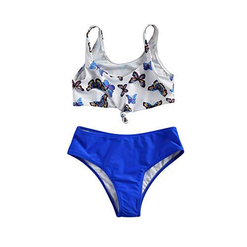 Loalirando Geagodelia Costume da Bagno per Bambina a 2 Pezzi Ragazza Bikini con Monospalla e Top a Vita Bassa per Piscina Estiva (Farfalla, 10-11 Anni)