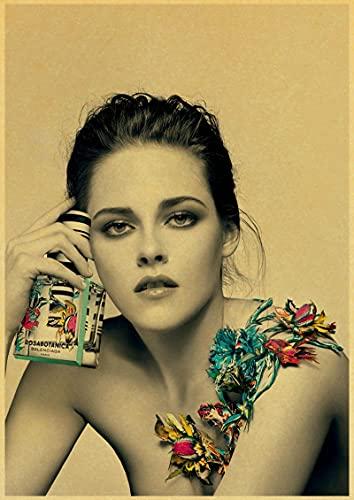 Weijiajia Cartel Retro de Kristen Stewart, Pintura en Lienzo, póster de decoración de Pared para el hogar, Bar, cafetería, Dormitorio Personalizado, colección de Ventiladores, 50x70 cm F-117