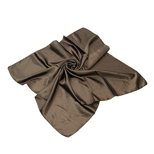 TrendsBlue Elegant Large Silk Feel Solid Color Satin Square Scarf Wrap 36', Brown
