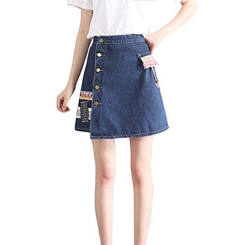 QIJINLOOK Gonna Jeans Mujer Cintura Alta Corte Azul Elegante Vintage Sexy/Faldas Mujer Tubo/Falda Media Ceremonia Casual/Vestido Playa Mujer/Falda gótica Mujer. Turquesa XL