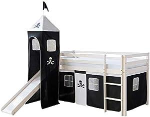 Décoshop26 Lit Mezzanine 90x200cm avec échelle Toboggan en Bois Blanc et Toile Noir Pirate Incluse LIT06154