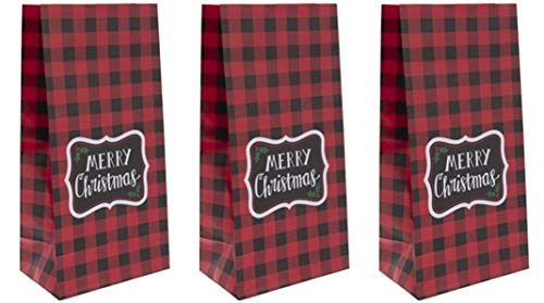 24 Pack | Buffalo Plaid Paper Bags Merry Christmas Bags | 10 inch