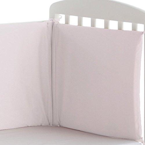 Pekebaby Protector liso de cuna 60/70/80 desenfundable (185 x 43 cm) ROSA