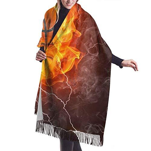 Pelota de baloncesto en el fuego y el agua con salpicaduras de llamas bufanda de mujer Pashmina chales envuelve manta invierno cálido grueso