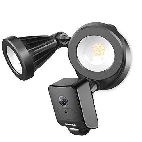 AI Floodlight Cam, ANNKE 1080P HD beveiligingscamera met schijnwerper, led-spots, bewakingscamera voor buiten, sirene en intercomfunctie, cloud-opslag beschikbaar zwart