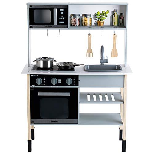 Theo Klein 7199 Miele Kinderküche – Weiße Holzküche inkl. Kochfeld mit Sound- und Licht - 3