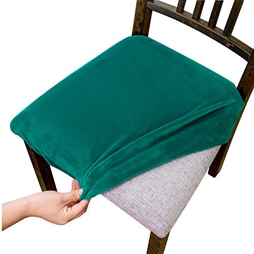 Argstar 2,4,6 Pieces Velvet Seats Cover Dining Room Chair, Teal Velvet Seats Cover for Dining Room Chair, Kitchen Chair Cushion Cover Set of 6, Peacock