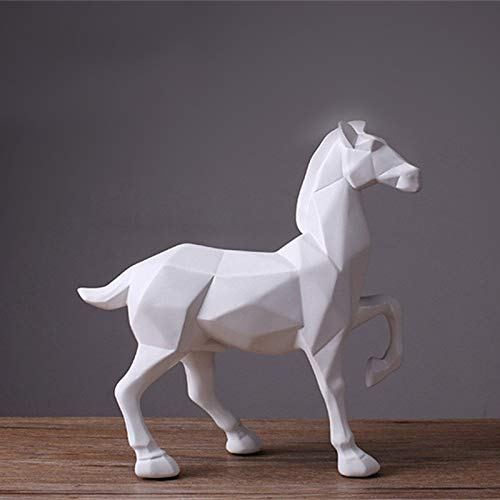 MKYXLN Modern Abstract White Horse Statue Resin Ornaments Home Decoration Accessories Gift Geometric Sculpture