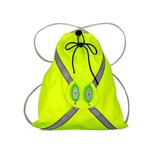 Mochila de gimnasio para hombres y mujeres con cordón de luz LED, reflectante, gran capacidad, multifuncional, para deportes al aire libre, bolsa de correr con clip para el pecho y cordón, amarillo, S