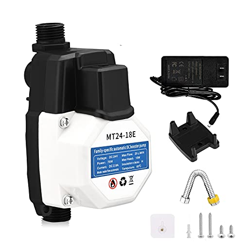MATHOWAL 24V/75W Household Booster Pump, 25L/min Automatic Shower Booster Pump with Pressure Switch, Hot and Cold Water Pump, High Pressure Water Pump for Tap Water/Shower/Garden Watering
