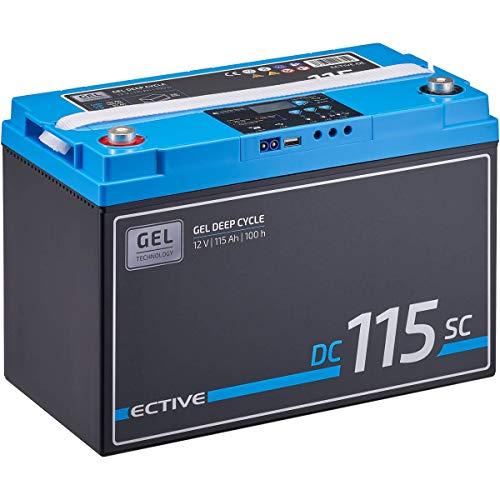 ECTIVE 115Ah 12V GEL Versorgungsbatterie DC 115sc mit LCD-Display Solar-Batterie mit integriertem PWM-Solarladeregler und Nachfüllpacks