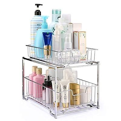 Simple Trending Stackable 2-Tier Vertical Bathroom Storage Under Sink Cabinet Organizer, Toilet Vanity Organizer Drawers, Chrome