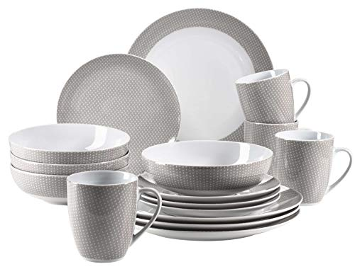 MÄSER 931566 Kitchen Time II Geschirr-Set für 4 Personen, 16-tlg Kombiservice in Beige mit dezentem Muster, Porzellan