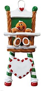 Personalized Gingerbread High-Chair Christmas Tree Ornament 2019 - Cute Sugar Baby Sit Eat Green Red Candy Cane Heart New Mom Shower Gift Grandkid Toddler Milestone - Free Customization