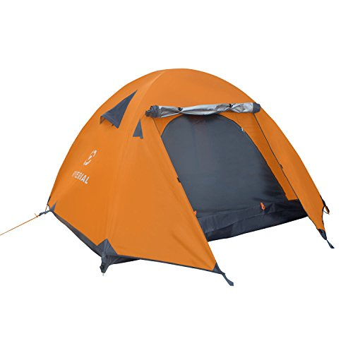 Winterial Three Person Tent – Lightweight 3 Season Tent with Rainfly, 4.4lbs, Stakes, Poles and Guylines Included, Camping, Hiking and Backpacking Tent, Orange