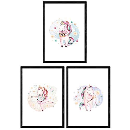 Pack de Tres láminas con Ilustraciones de Animales. Posters con imágenes Infantiles de Animales. Unicornio bailnado Unicornio Hada y Unicornio fotografo. Tamaño A3 sin Marco