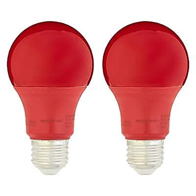 AmazonBasics 60 Watt Equivalent, Non-Dimmable, A19 LED Light Bulb | Red, 2-Pack