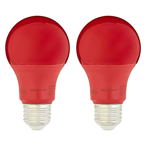 Amazon Basics 60 Watt Equivalent, Non-Dimmable, A19 LED Light Bulb | Red, 2-Pack