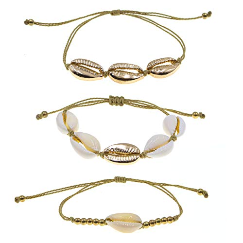 Fablinks 3 VSCO Girl Cowrie Shell Bracelets for Girl VSCO Sea Shell Bracelets for Girls, Beachy Cowrie Shell Bracelet Trio Set, Girl Seashell Bracelets, White Shell Bracelets Stacks Sets