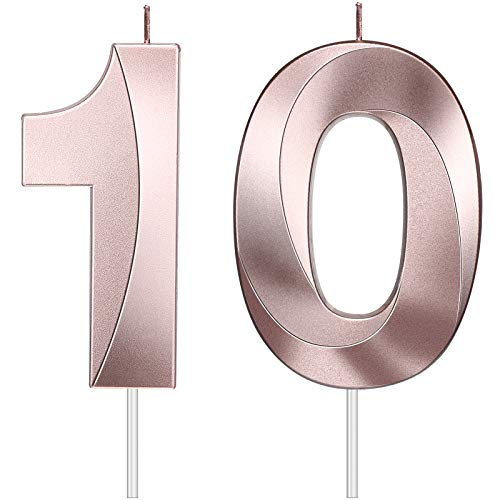 2 Pieces 4 Inch 10th Birthday Candles, 3D Diamond Shape Number 10 Candles Cake Topper Numeral Candles for Boys Girls Kids Birthday Baby Shower Supplies (Rose Gold)