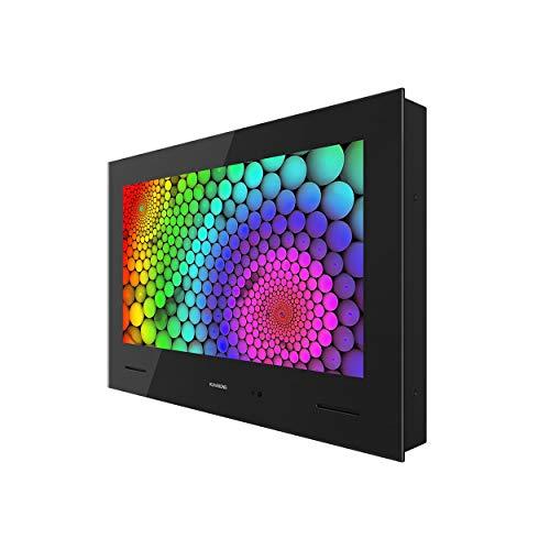 KUVASONG 19 Inch Freeview Waterproof Smart Bathroom TV, 19 Inch UK Smart Waterproof TV for Bathroom, DVB-T2S2, CI+, HDMIx2, Black