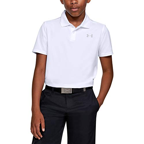 Under Armour Performance 2.0 - Polo de Golf para niño, Polo de Golf Performance 2.0, Blanco (100)/Gris Mod, X-Large