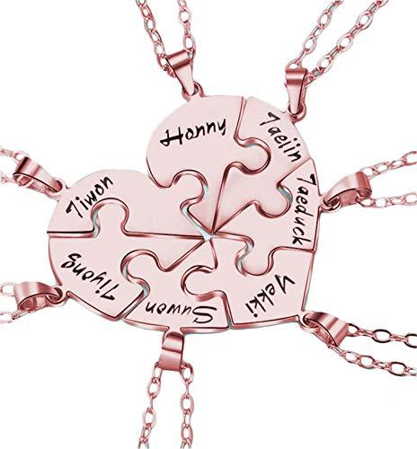 Collar con nombre Collar familiar personalizado Rompecabezas Colgante Collar con nombre grabado Acción de gracias para mujeres(Oro rosa 22)