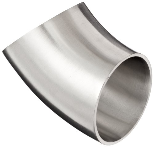 1-1//2 Tube OD Dixon B2S-R150P Stainless Steel 316L Sanitary Fitting 90 Degree Polished Weld Long Elbow with Tangent