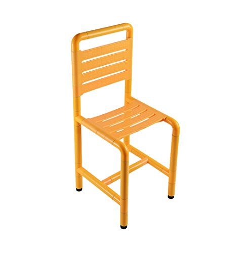 Duschsitze Hocker für ältere Menschen Edelstahl Anti-Rutsch-Bad Hocker Bad behindertengerechte Dusche Hocker mit komfortabler Rückenlehne - Traglast 300kg (Farbe : Gelb)