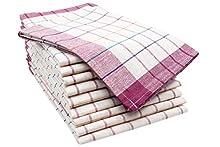 ZOLLNER 10 Trapos de Cocina de algodón, a Cuadros rojizos y de Colores, 50x70 cm