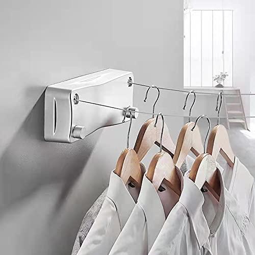 Tendedero retráctil de 5,2 m para interior con doble línea, tendedero de balcón extensible de pared, tendedero de lavado para dormitorio, baño, balcón, jardín (26 x 9,5, plata)