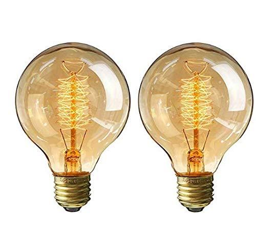 Edison Glühbirne Warmweiß E27 Vintage 40W G80 Globe Glühlampe Retro Dimmbar Dekorative Glühbirne 2pack