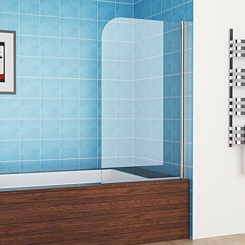 MIQU 80 x 140 cm Badewannen 1-teilig Aufsatz 180° Duschwand Duschabtrennung 6mm Nano Glas ZCY