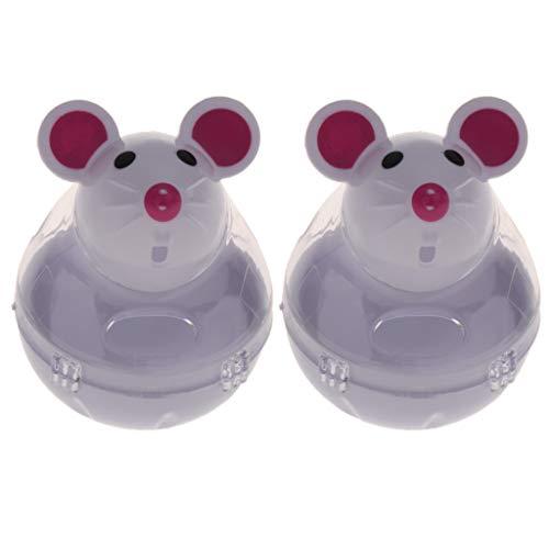 VANKOA 2 Stück Kunststoff Tumbler Hund Katze Feeder Spielzeug Maus Form Treat Dispenser Spielzeug - Weiß