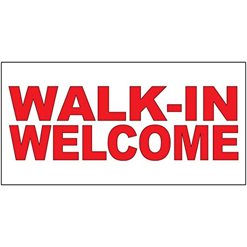 Walk-in Welcome Red Decal Sticker Retail Store Sign 9.5 X 24 Inches