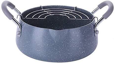 IUYJVR Olla de Sopa Cubierta Antiadherente de cerámica de Granito de Acero Inoxidable Ollas Profundas para freír Tempura con Cesta Utensilios de Cocina Olla Utensilios de Cocina