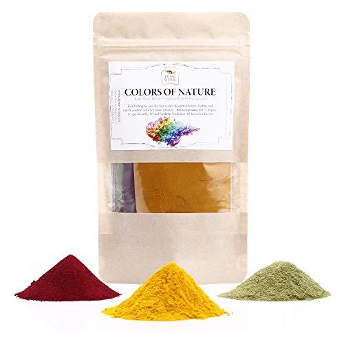 Colors of Nature | natürliche Lebensmittel Farben | Premium Gewürzset mit Rezepten | Rote Bete | Spinatpulver | Curcuma | glutenfrei | 90g