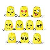 FUNNY HOUSE Emoji Bolsas de Cuerdas, 10 Piezas Bolsa de Gimnasio Emoji para niños Bolsas de Fiesta...