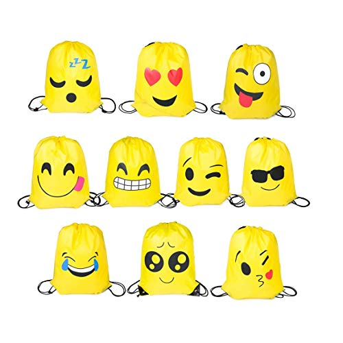 Funny House Emoji Borse Sacca,10 PCS Coulisse Sportiva Sacche Zaino Drawstring Bag Sacche da Palestra Sacchettini per Festa Compleanno