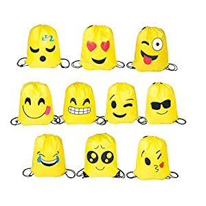 FUNNY HOUSE Emoji Bolsas de Cuerdas, 10 Piezas Bolsa de Gimnasio Emoji para niños Bolsas de Fiesta de Cumpleaños de…