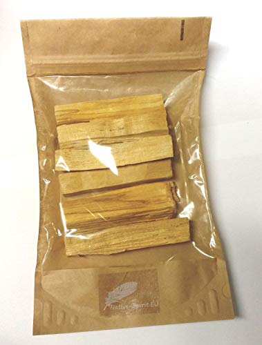 Holy wood Sticks Palo Santo (Bursera graveolens) -- Native Spirit Quality -- Big sticks - very intense aroma! 6 pieces. length approx. 3,5 Inches (9x2x4 cm weight ~95-125gr) sustainable harvested from fallen trees in Peru by Native-spirit