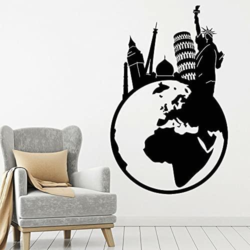 Agencia de viajes Earth Global World Trip City Landmark Building Tower Liberty Statue Vinilo Etiqueta de la pared Calcomanía para coche Dormitorio Estudio Decoración para el hogar Mural